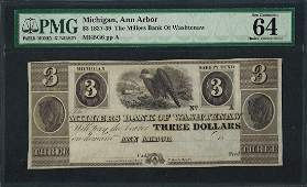 183739 3 The Millers Bank of Washtenaw Obsolete Note