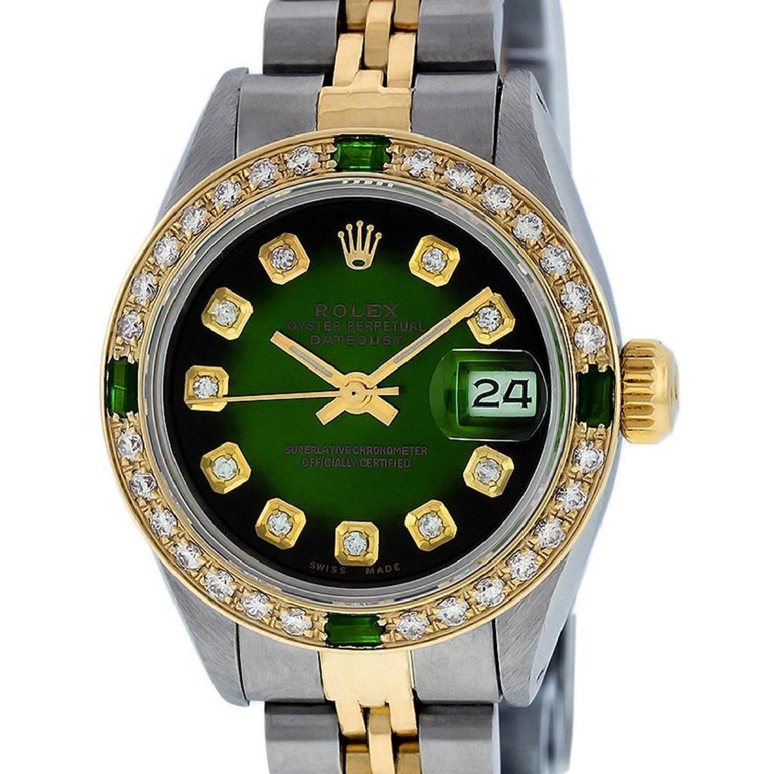 Rolex Ladies Two Tone Green Vignette Diamond Datejust