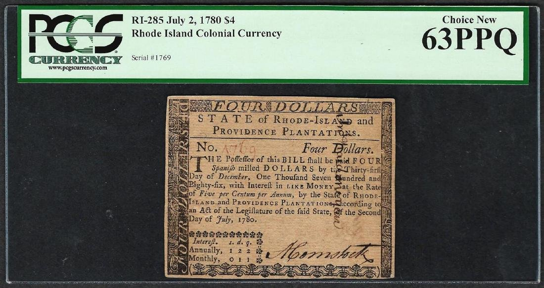 July 2, 1780 $4 Rhode Island Colonial Currency Note