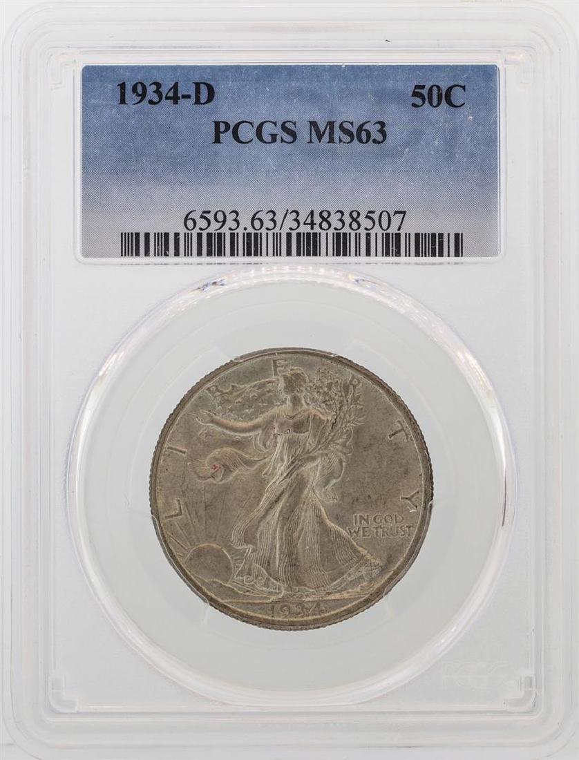 1934-D Walking Liberty Half Dollar Coin PCGS MS63