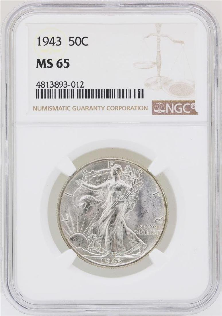 1943 Walking Liberty Half Dollar Coin NGC MS65