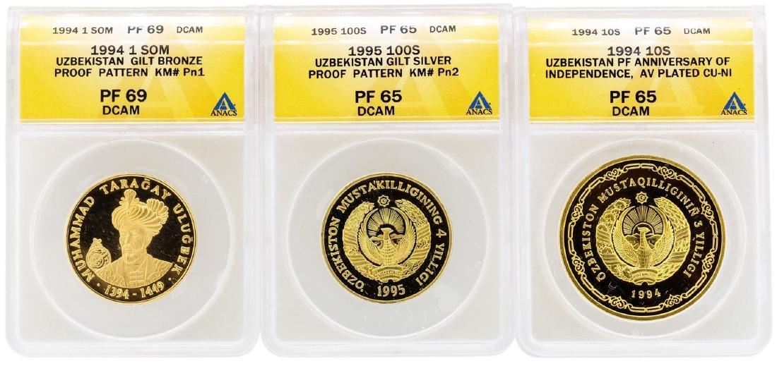 Lot of (3) 1994-1995 Uzbekistan Proof Coins ANACS