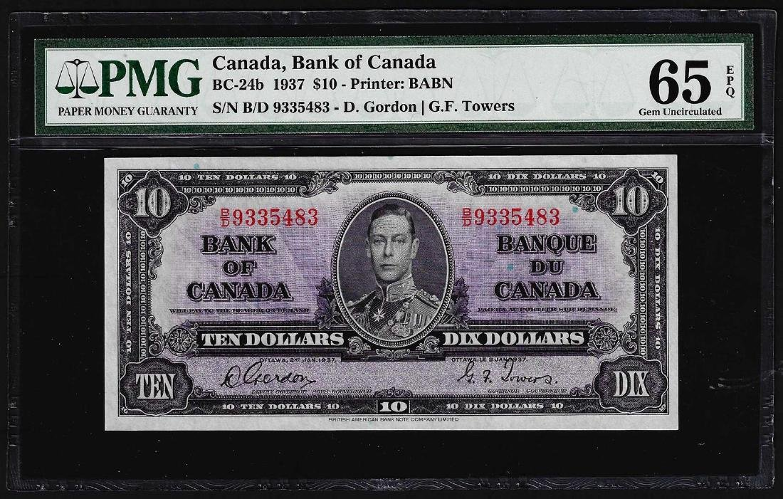 1937 $10 Bank of Canada Note BC-24b PMG Gem