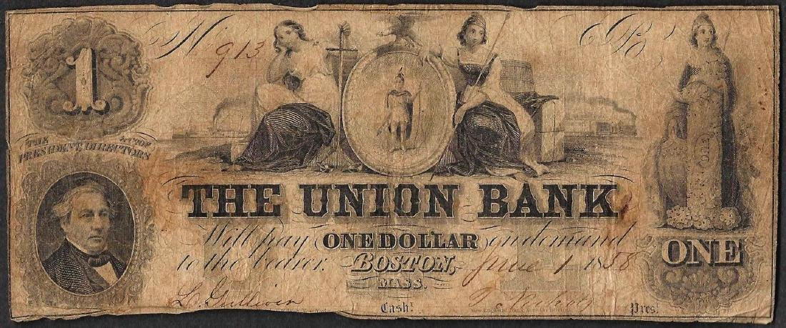 1858 $1 The Union Bank Boston, Massachusetts Obsolete