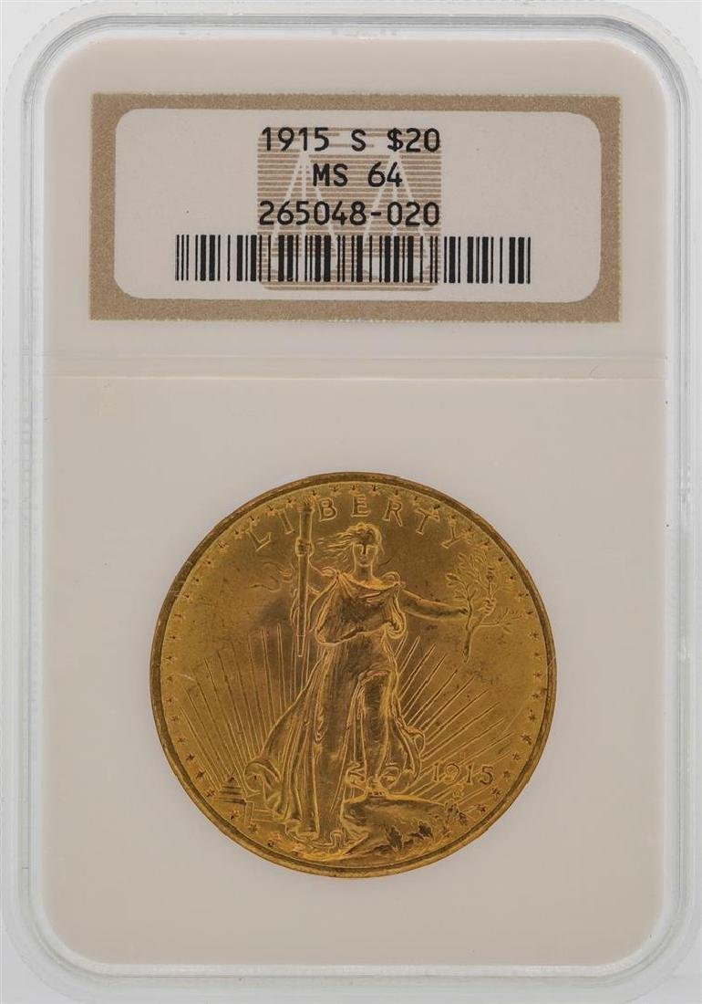 1915-S $20 St. Gaudens Double Eagle Gold Coin NGC MS64