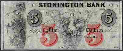 1800s 5 Stonington Bank Connecticut Obsolete Note