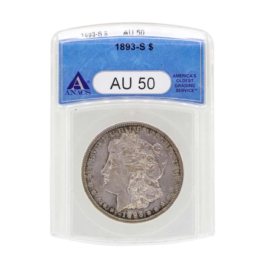 1893-S $1 Morgan Silver Dollar Coin ANACS AU50