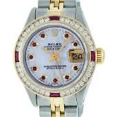 Rolex Ladies Two Tone 14K MOP Ruby & Diamond Datejust