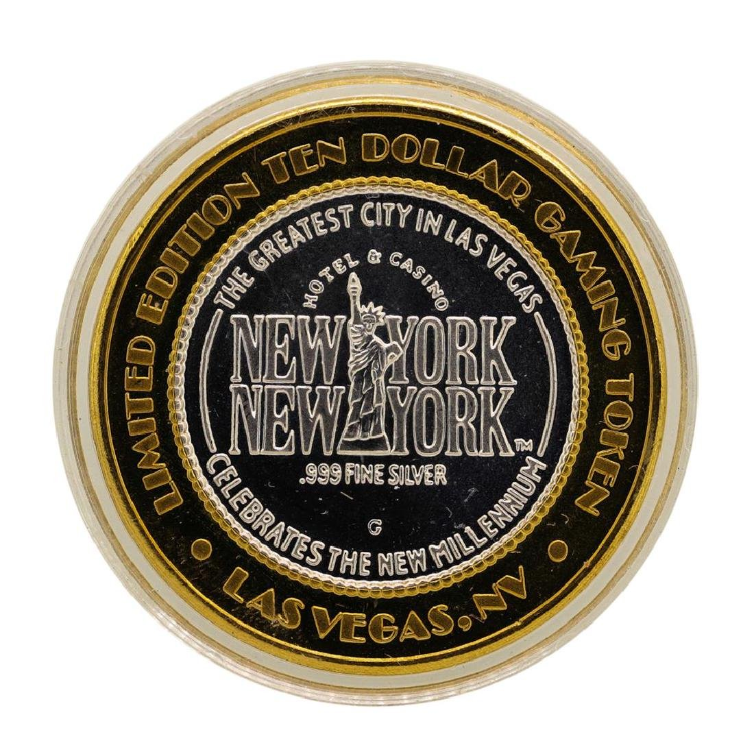 .999 Silver New York-New York Las Vegas $10 Casino - 2