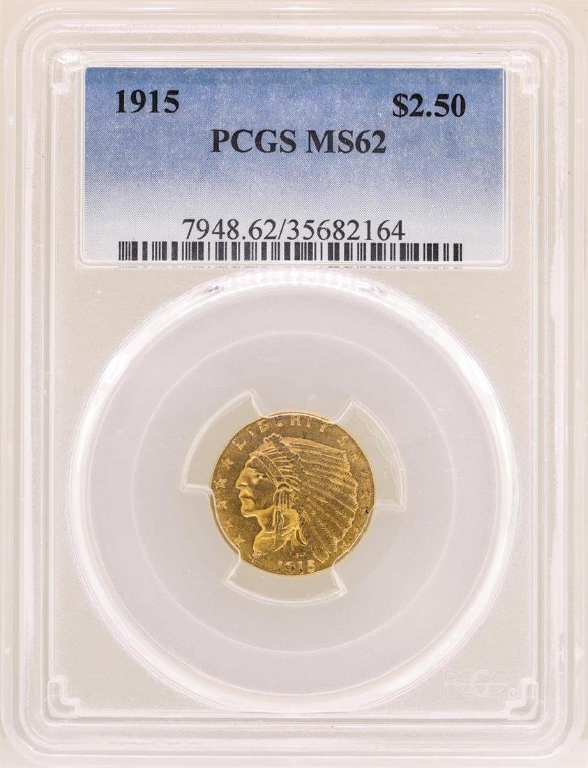 1915 $2 1/2 Indian Head Quarter Eagle Gold Coin PCGS