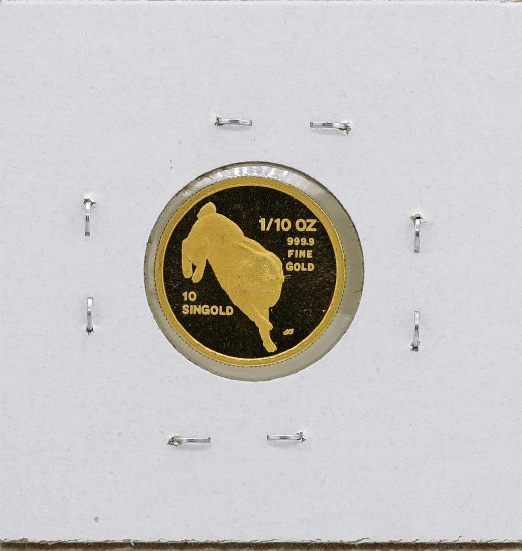 1987 Singapore 1/10 Oz. Gold Coin Year of the Rabbit