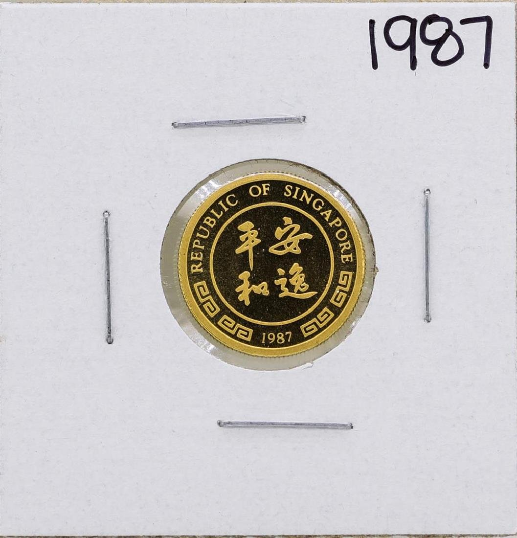 1987 Singapore 1/10 Oz. Gold Coin Year of the Rabbit - 2