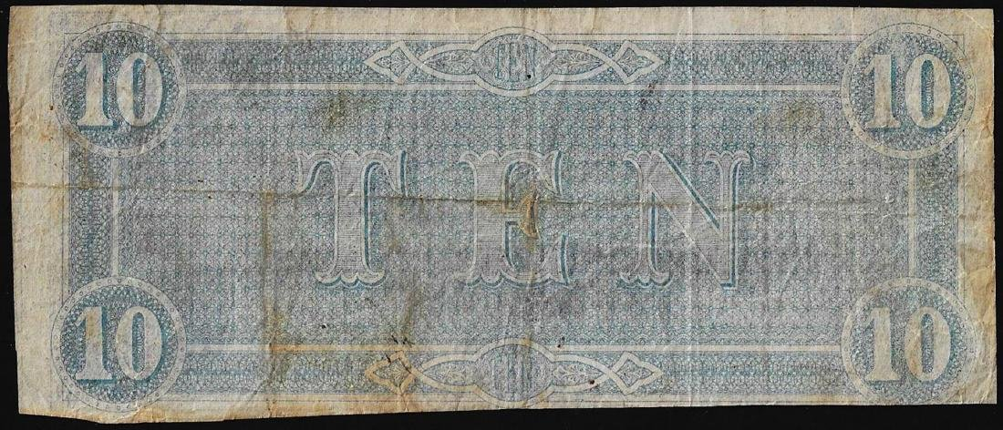 1864 $10 Confederate States of America Note - 2