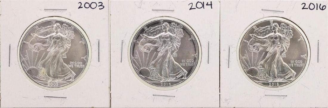 Lot of 2003, 2014, & 2016 $1 American Silver Eagle