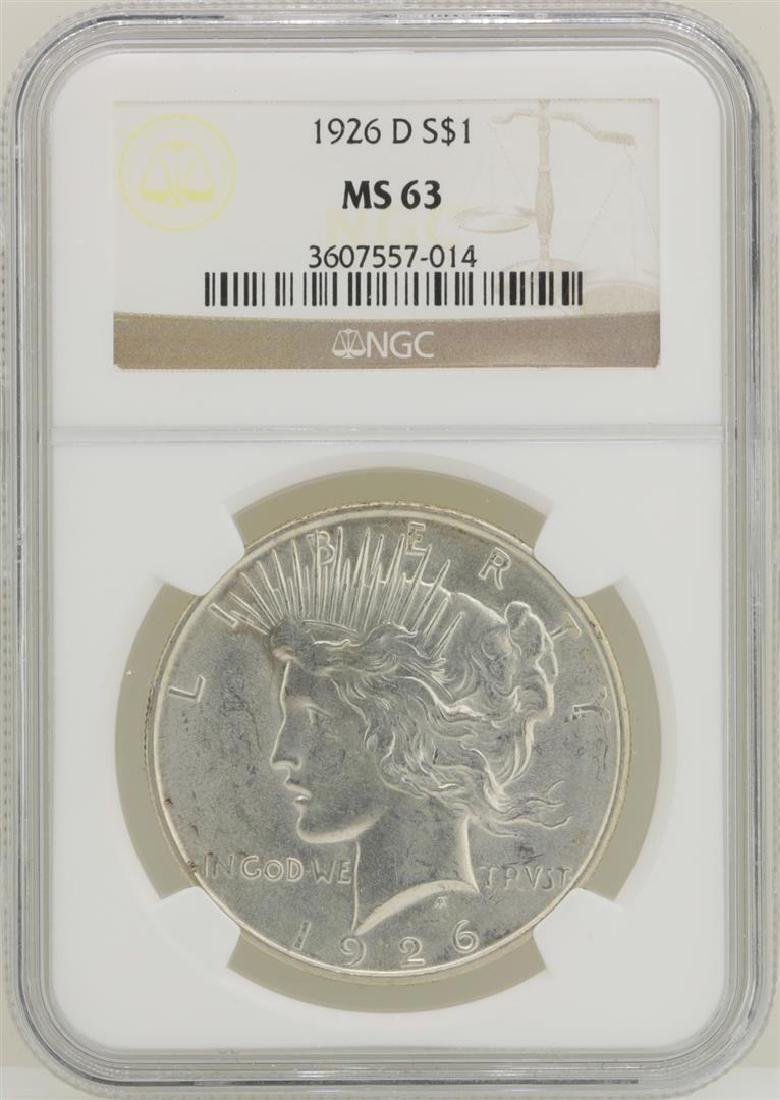 1926-D $1 Peace Silver Dollar Coin NGC MS63