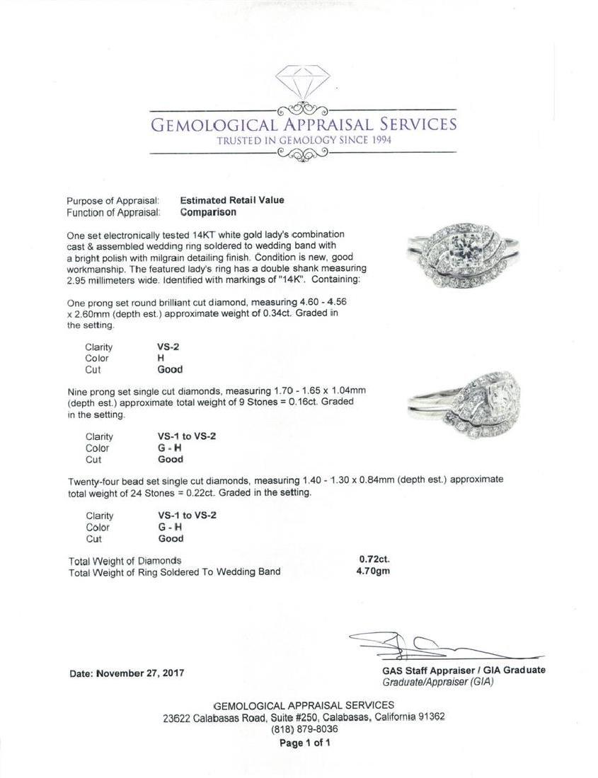 14KT White Gold 0.72 ctw Diamond Ring - 5