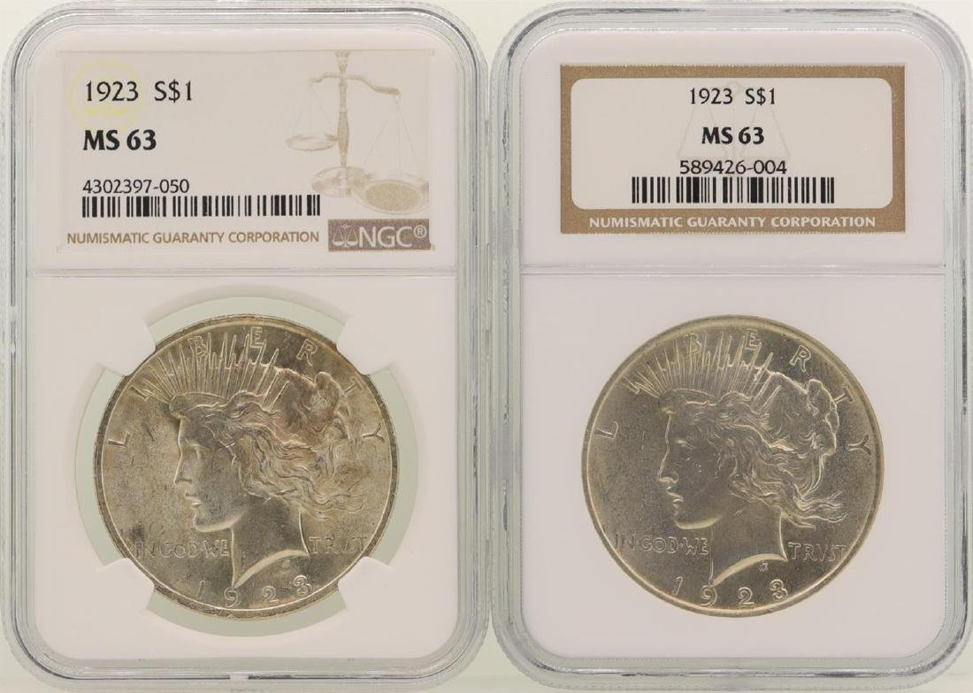 Lot of (2) 1923 $1 Peace Silver Dollar Coins NGC MS63
