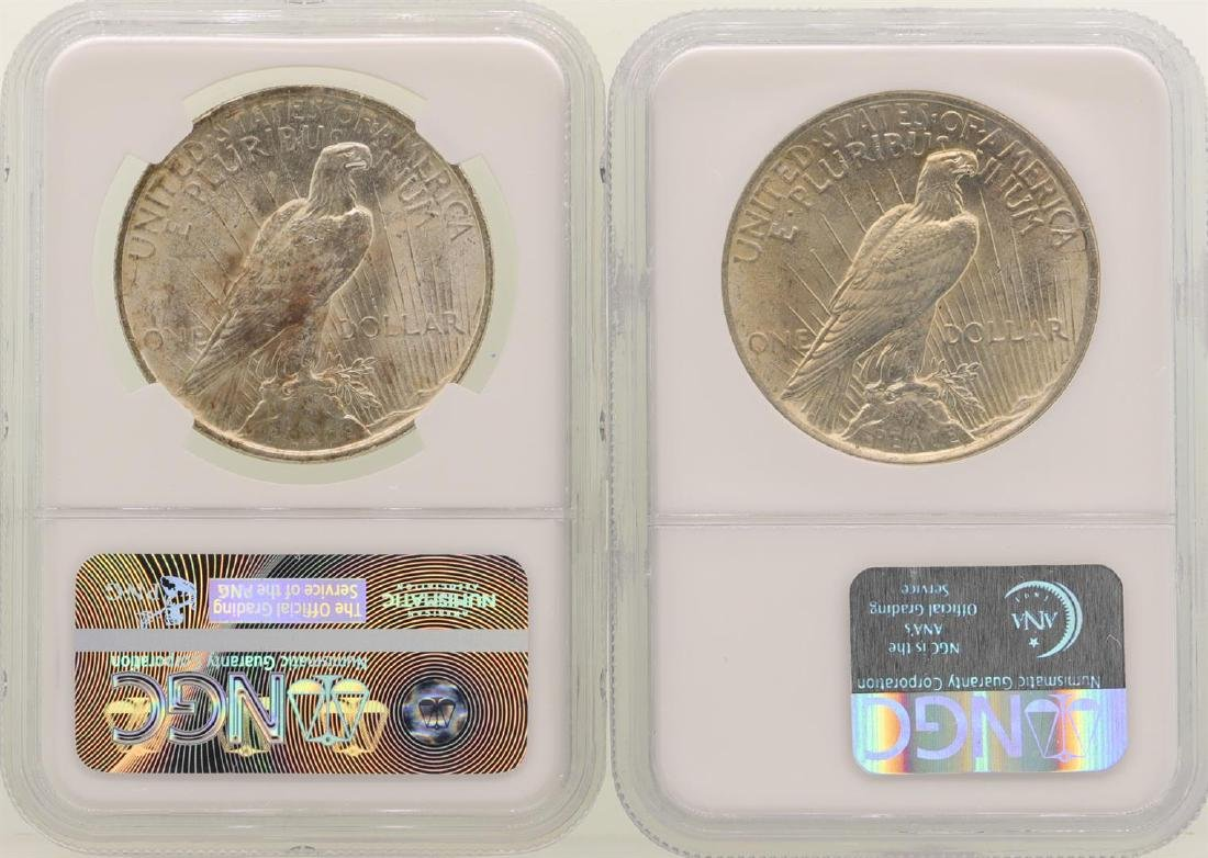 Lot of (2) 1923 $1 Peace Silver Dollar Coins NGC MS63 - 2
