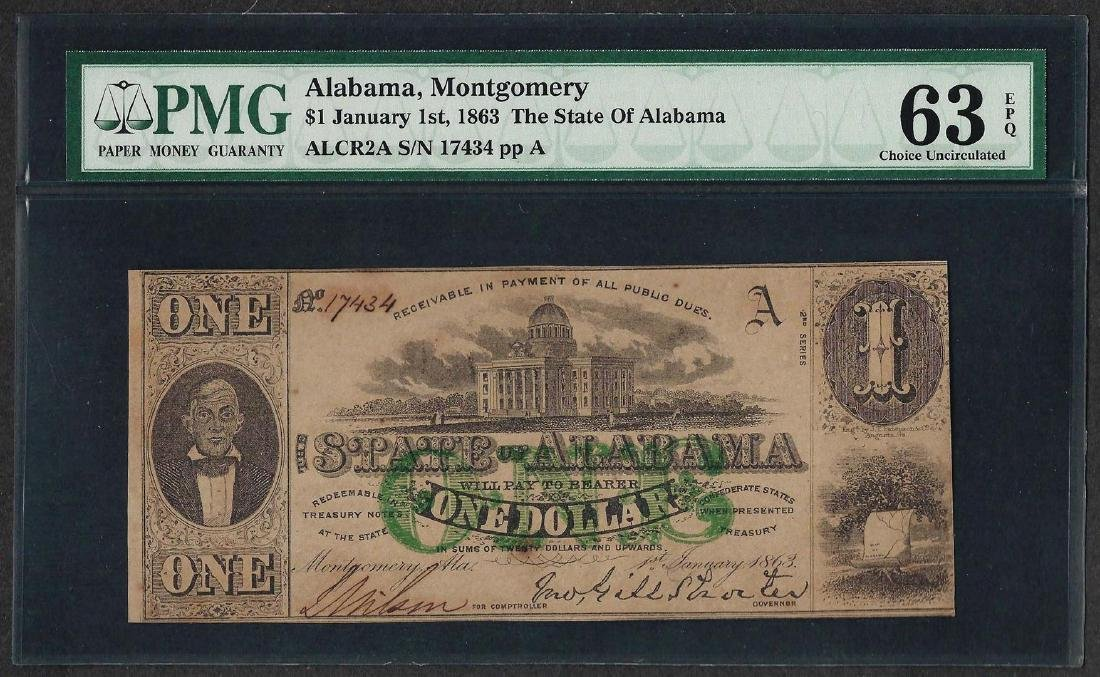 1863 $1 The State of Alabama Obsolete Note PMG Choice