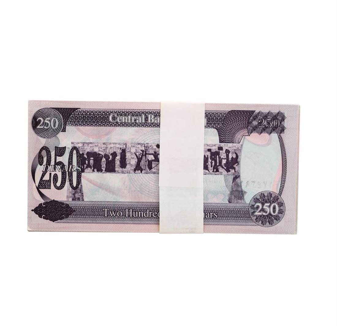 Lot of (50) Iraqi 250 Dinars Saddam Hussein Notes - 2