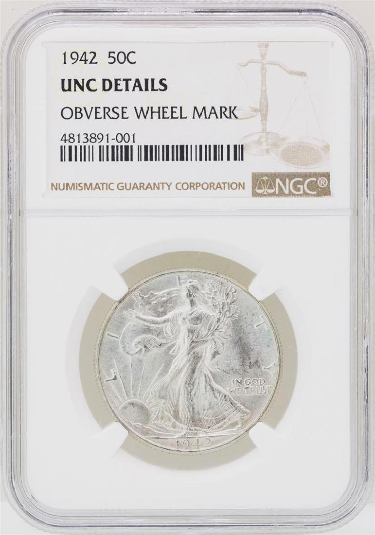 1942 Walking Liberty Half Dollar NGC Unc Details