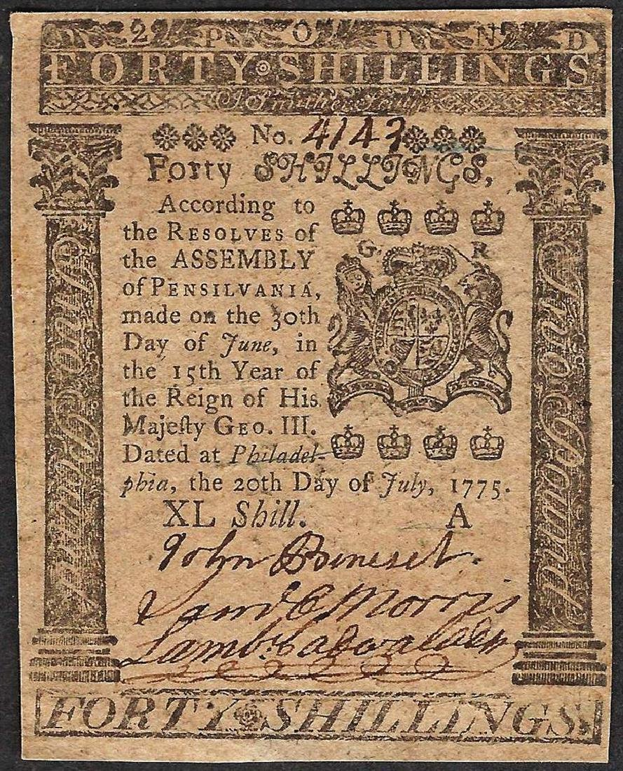 July 20, 1775 Forty Shillings Pennsylvania Colonial