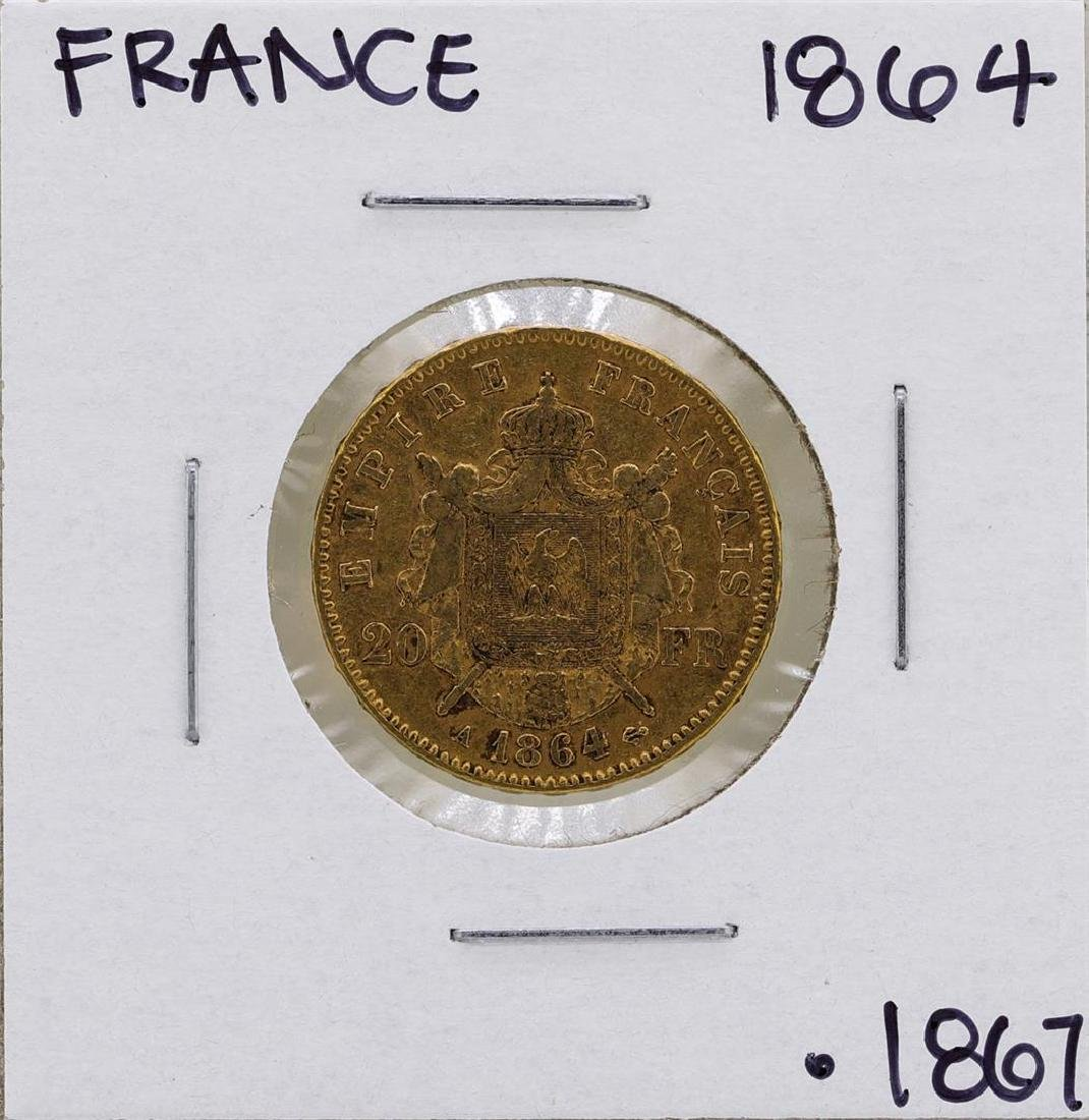 1864 France Napoleon 20 Francs Gold Coin - 2