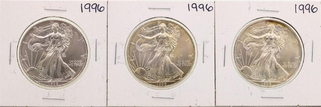 Lot of (3) 1996 $1 American Silver Eagle Coins