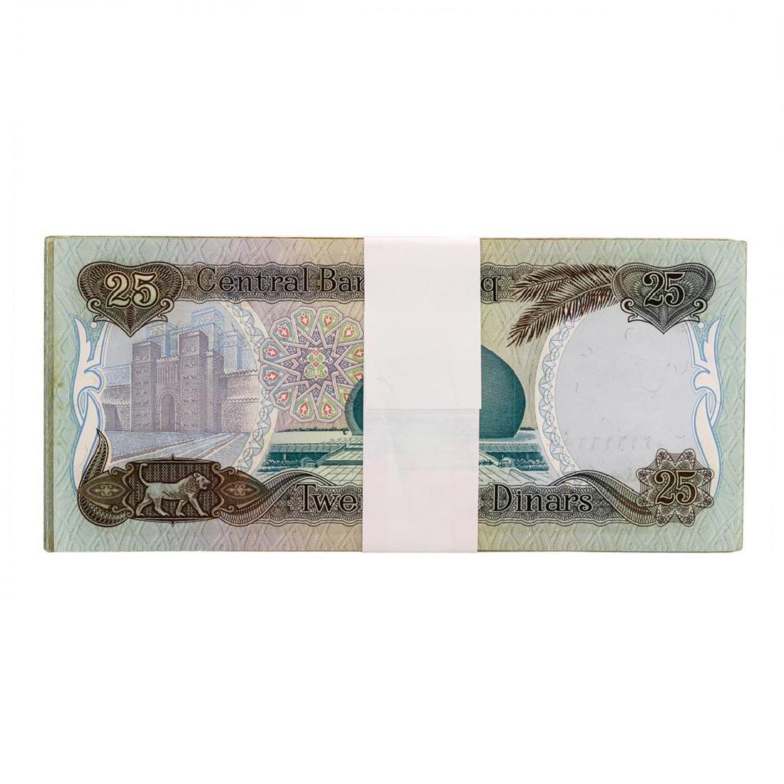 Lot of (25) Iraqi 25 Dinars Saddam Hussein Notes - 2