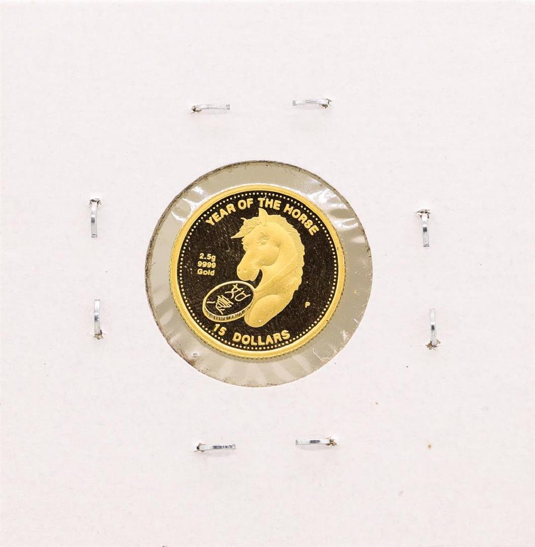 2002 Cook Islands $15 Year of the Horse Gold Coin - 2