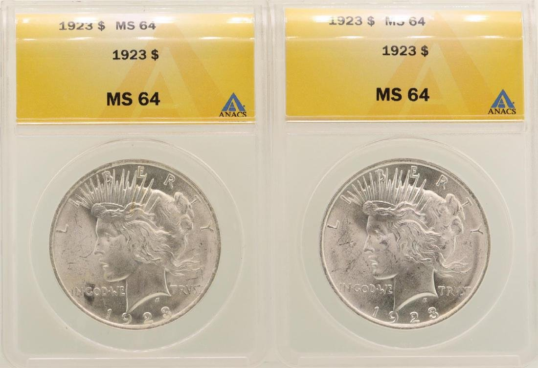 Lot of (2) 1923 $1 Peace Silver Dollar Coins ANACS MS64
