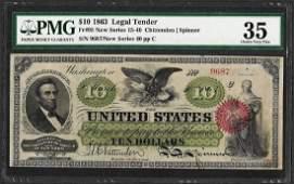 1863 $10 Legal Tender Note Fr.95 PMG Choice Very Fine