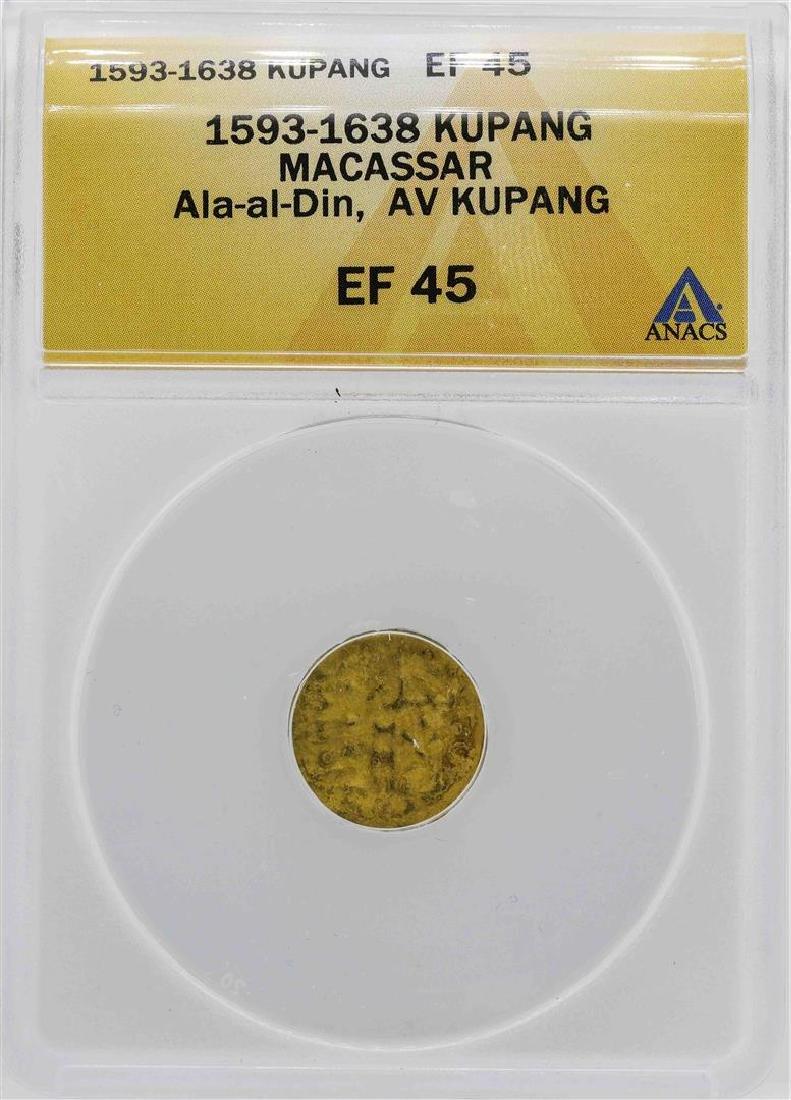 1593-1638 Macassar Ala-al-Din Kupang Gold Coin ANACS