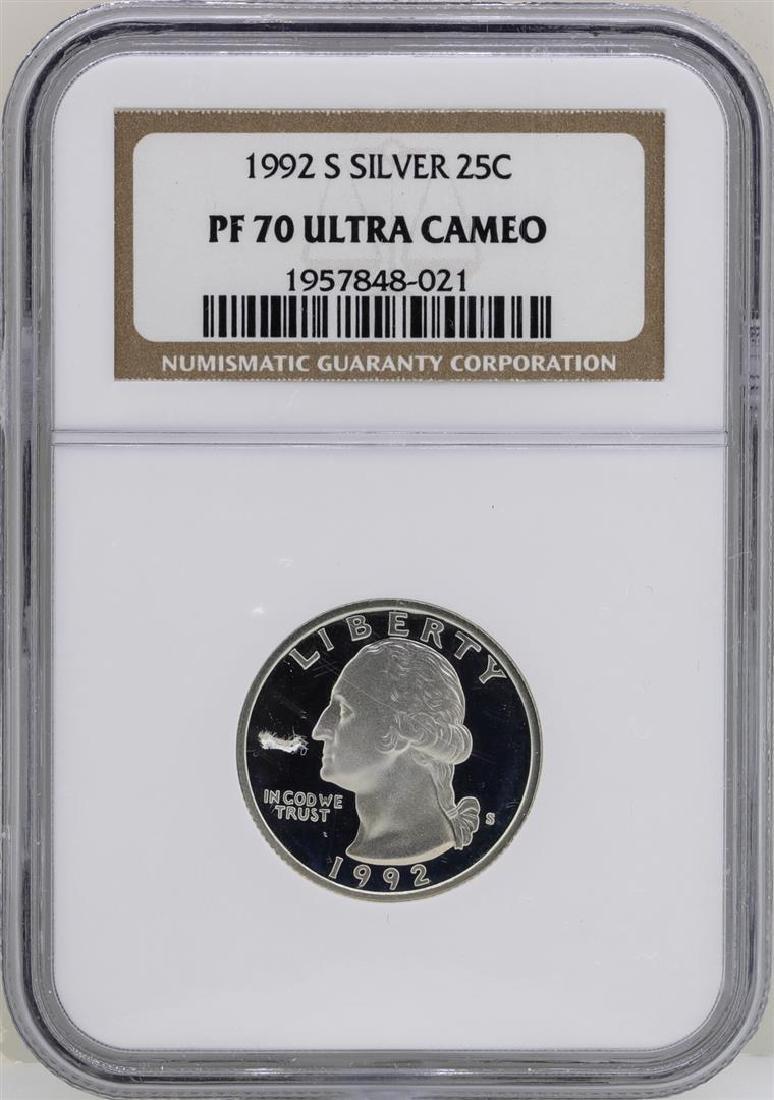 1992-S Washington Silver Proof Quarter Coin NGC PF70