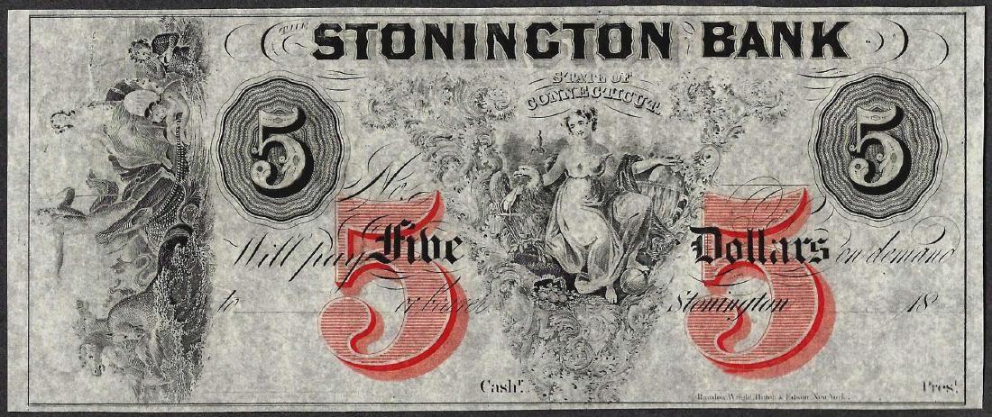1800's $5 Stonington Bank Connecticut Obsolete Note