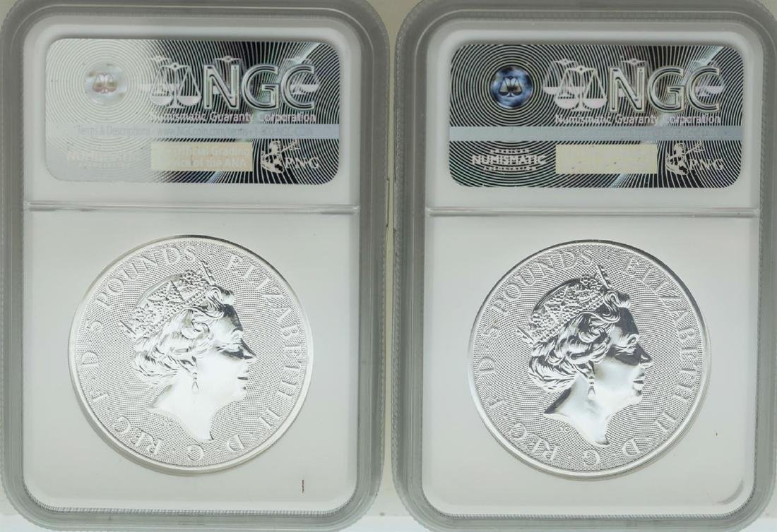Lot of (2) 2018 Great Britain 5 Pound Queen's Beasts - 2