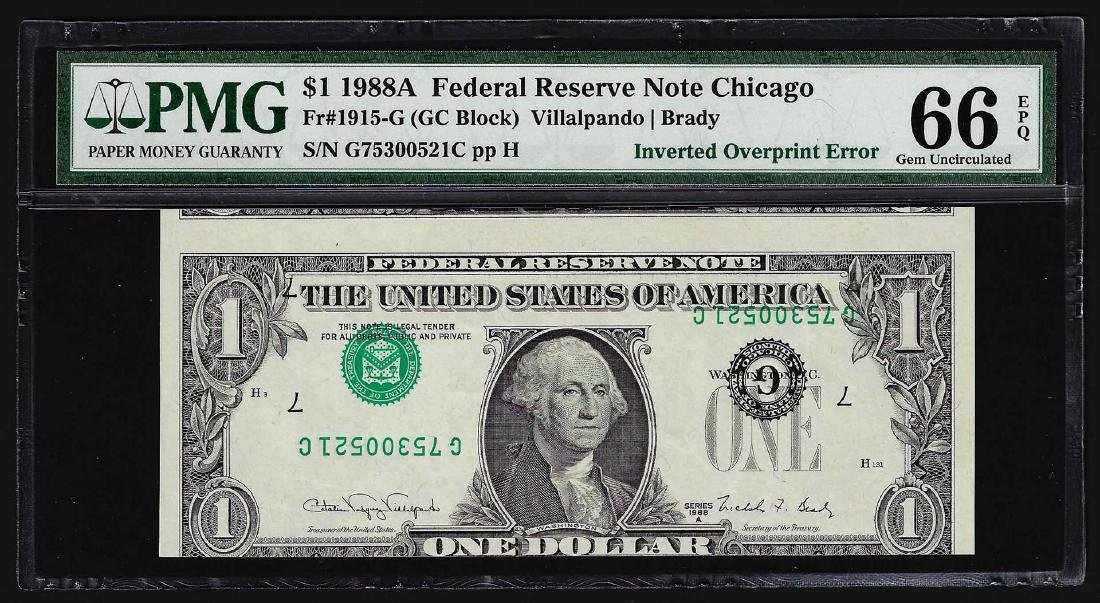 1988A $1 Federal Reserve Note ERROR Inverted Overprint
