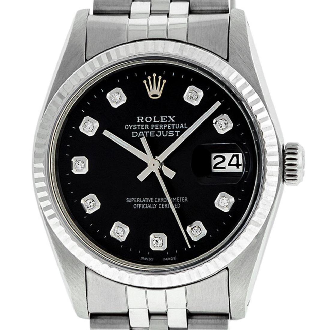 Rolex Men's Stainless Steel Black Diamond 36MM Datejust