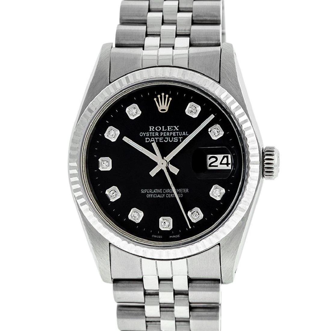 Rolex Men's Stainless Steel Black Diamond 36MM Datejust - 2