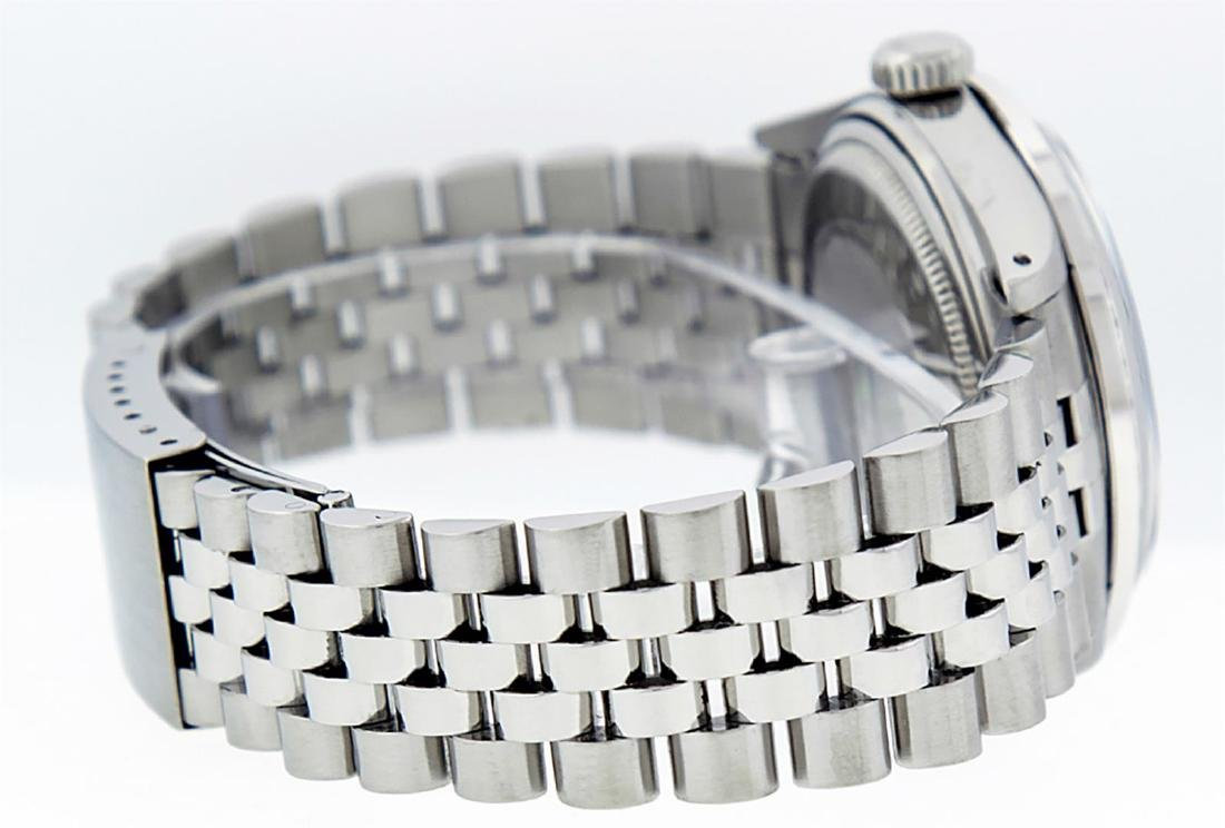 Rolex Men's Stainless Steel Black Diamond 36MM Datejust - 4