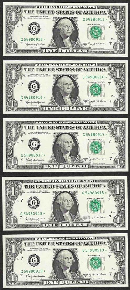 Lot of (5) Consecutive 1963B $1 Federal Reserve BARR