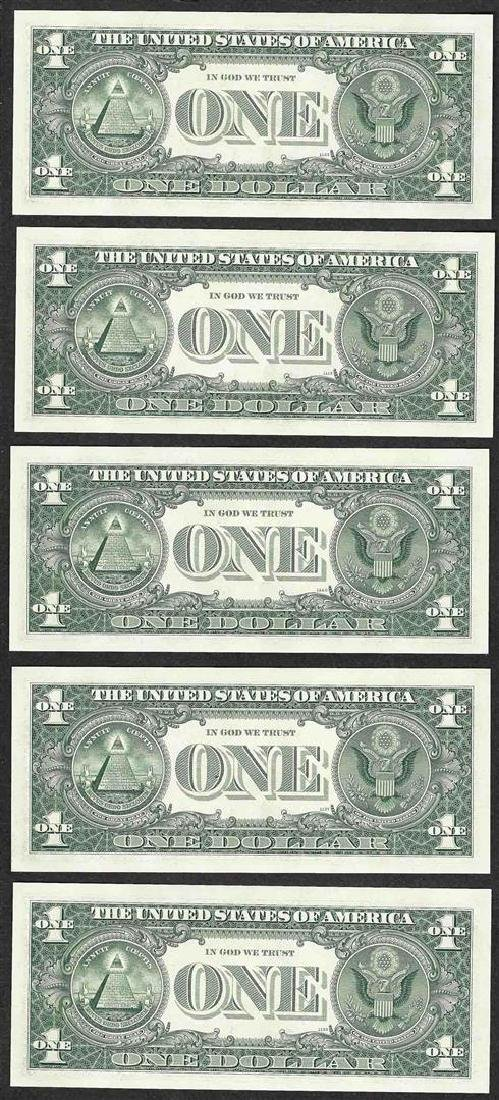 Lot of (5) Consecutive 1963B $1 Federal Reserve BARR - 2
