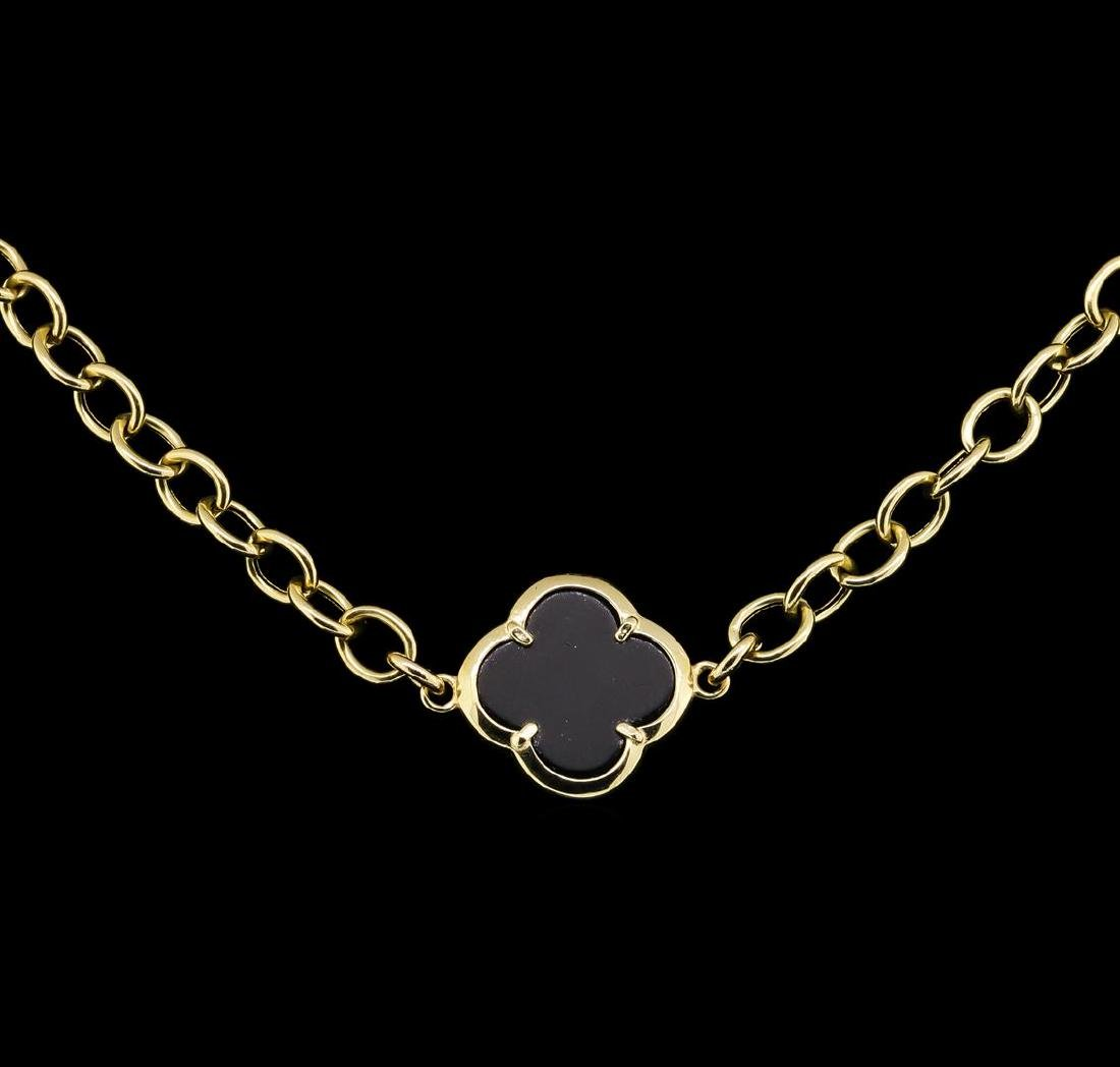 14KT Yellow Gold Onyx Necklace - 2