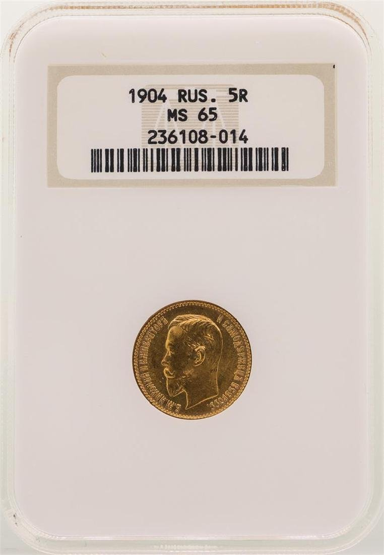 1904 Russia 5 Rubles Gold Coin NGC MS65