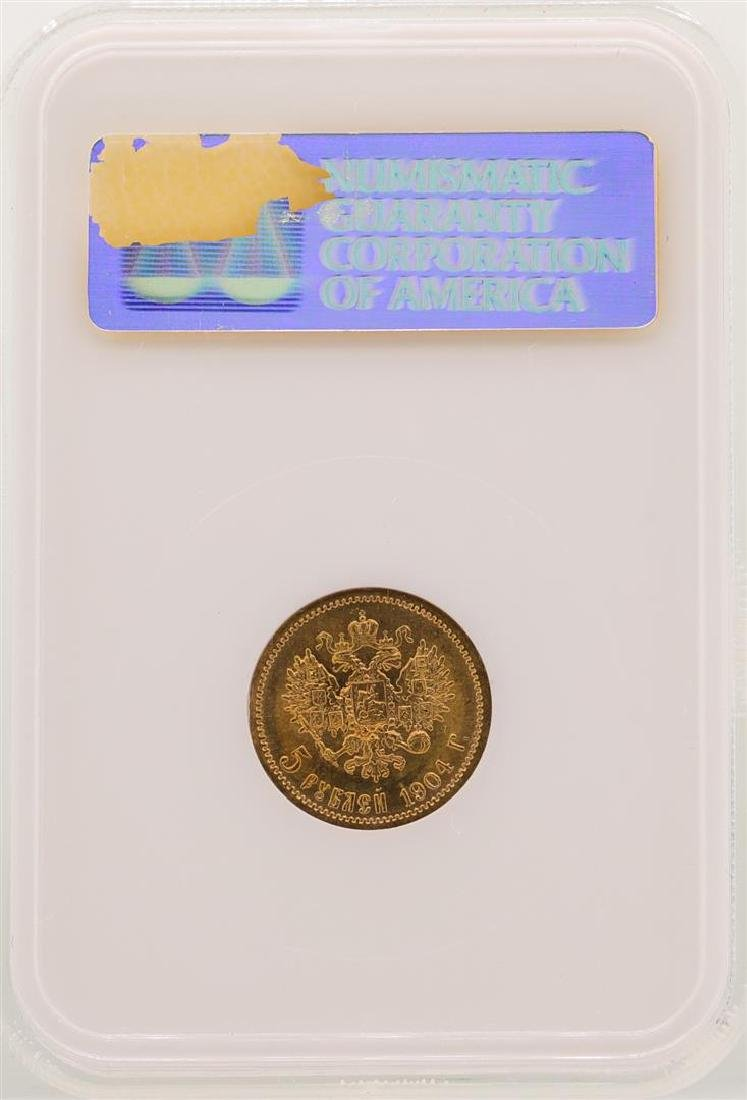 1904 Russia 5 Rubles Gold Coin NGC MS65 - 2