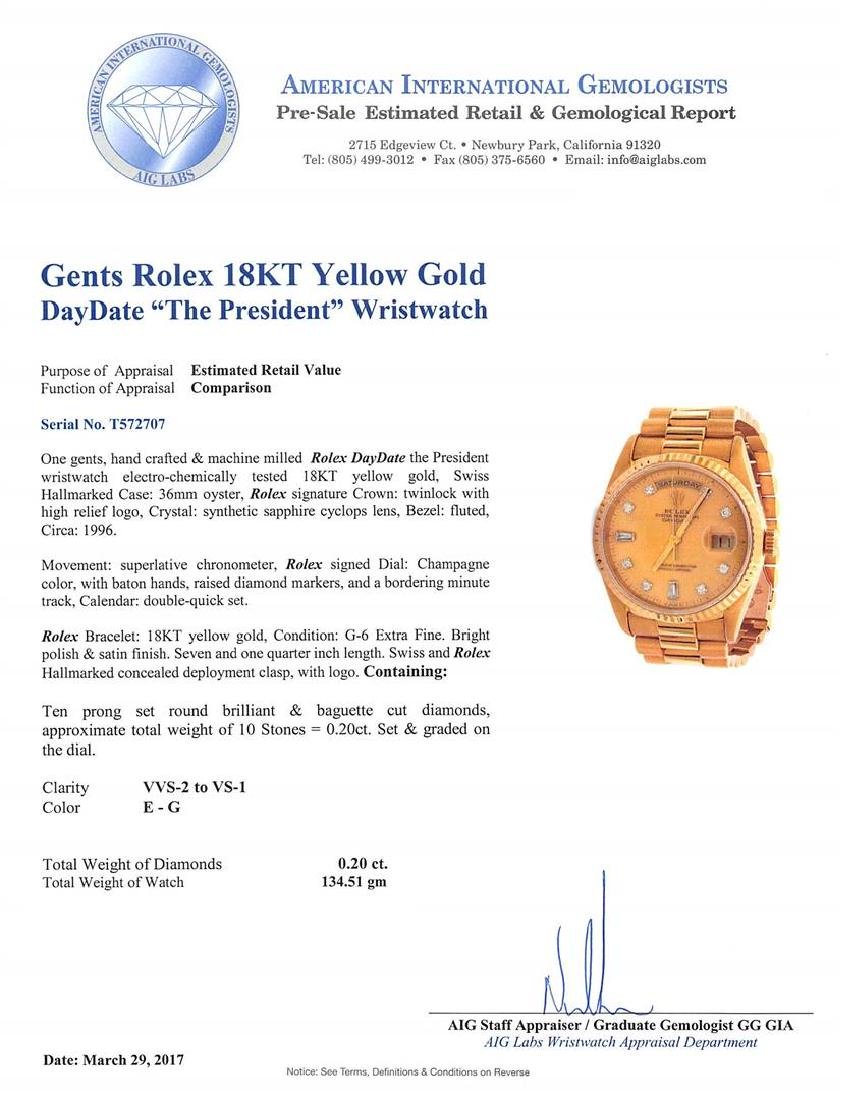 Rolex President 18KT Yellow Gold DayDate Mens - 5