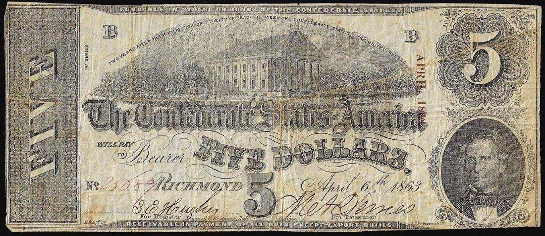 1863 $5 Confederate States of America Note
