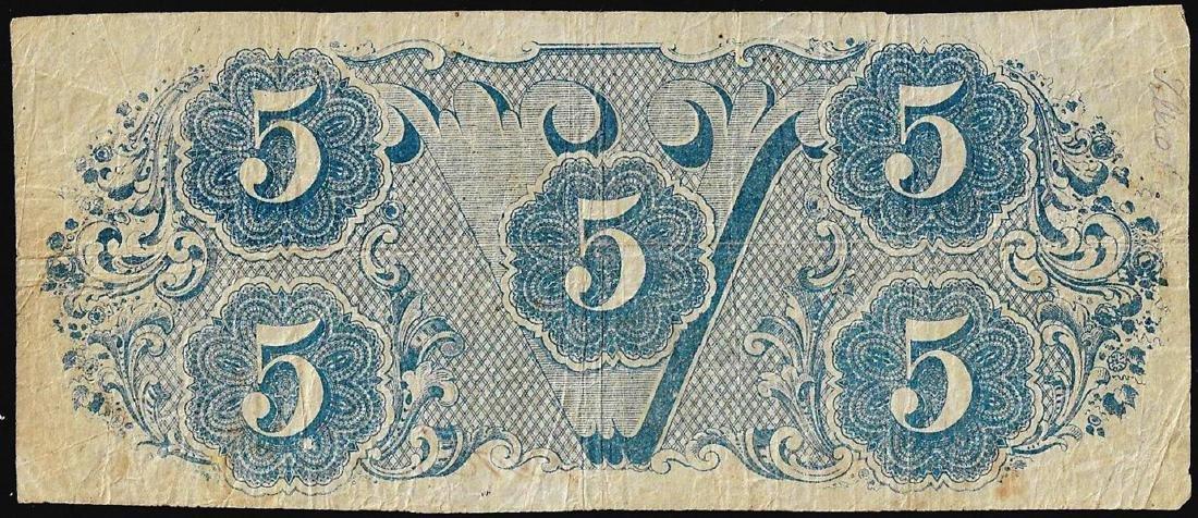 1863 $5 Confederate States of America Note - 2