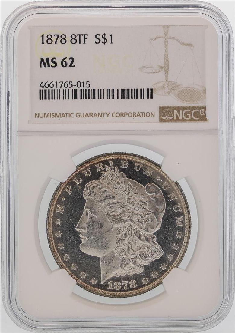 1878 8TF $1 Morgan Silver Dollar Coin NGC MS62