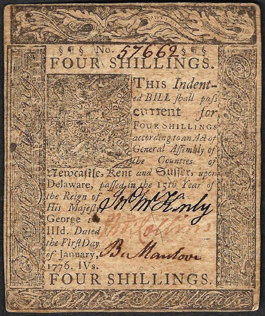 January 1, 1776 Four Shillings Delaware Colonial